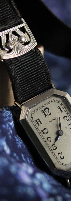 ロンジン 長八角形と布バンドの女性用アンティーク腕時計 【1926年製】-W1506-10