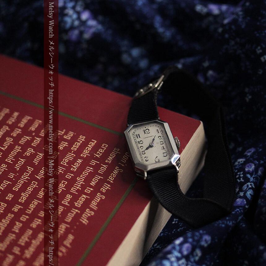 ロンジン 長八角形と布バンドの女性用アンティーク腕時計 【1926年製】-W1506-11