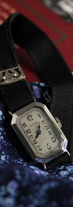 ロンジン 長八角形と布バンドの女性用アンティーク腕時計 【1926年製】-W1506-12
