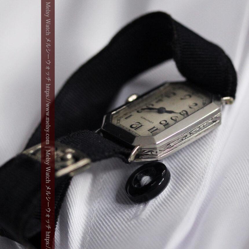 ロンジン 長八角形と布バンドの女性用アンティーク腕時計 【1926年製】-W1506-14