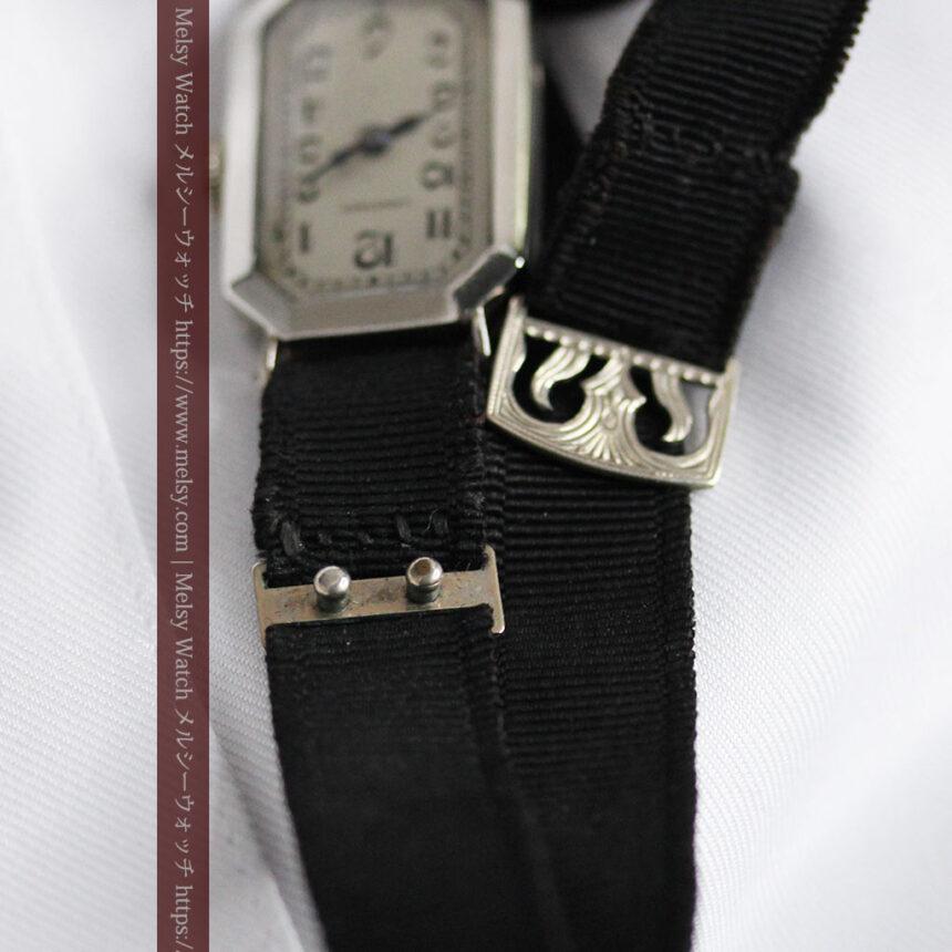 ロンジン 長八角形と布バンドの女性用アンティーク腕時計 【1926年製】-W1506-16