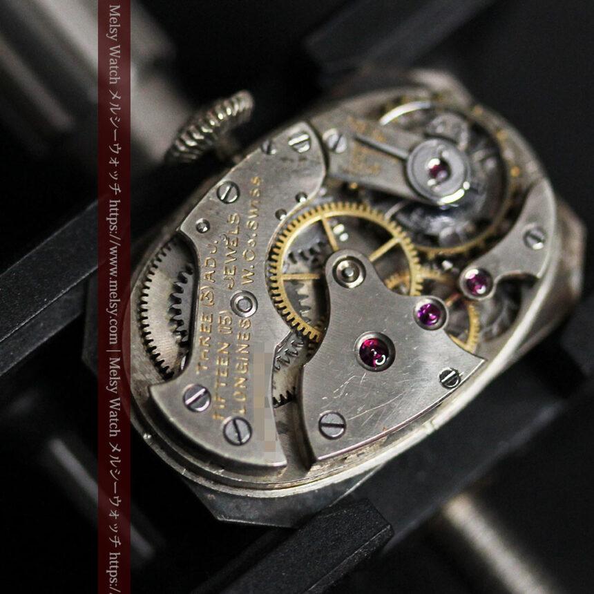 ロンジン 長八角形と布バンドの女性用アンティーク腕時計 【1926年製】-W1506-19