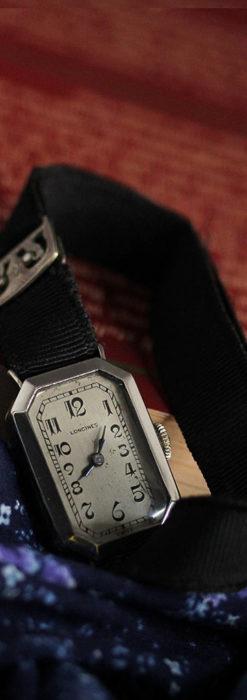 ロンジン 長八角形と布バンドの女性用アンティーク腕時計 【1926年製】-W1506-2