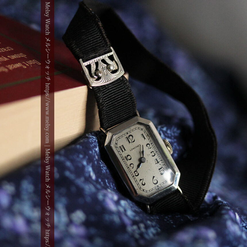 ロンジン 長八角形と布バンドの女性用アンティーク腕時計 【1926年製】-W1506-3