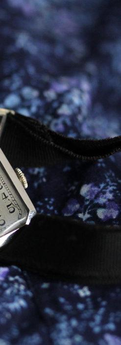 ロンジン 長八角形と布バンドの女性用アンティーク腕時計 【1926年製】-W1506-5