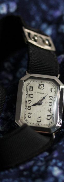 ロンジン 長八角形と布バンドの女性用アンティーク腕時計 【1926年製】-W1506-7