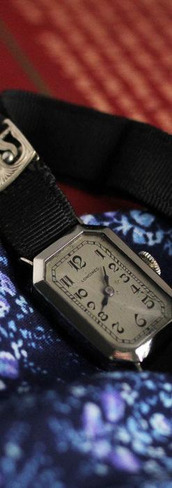 ロンジン 長八角形と布バンドの女性用アンティーク腕時計 【1926年製】-W1506-8