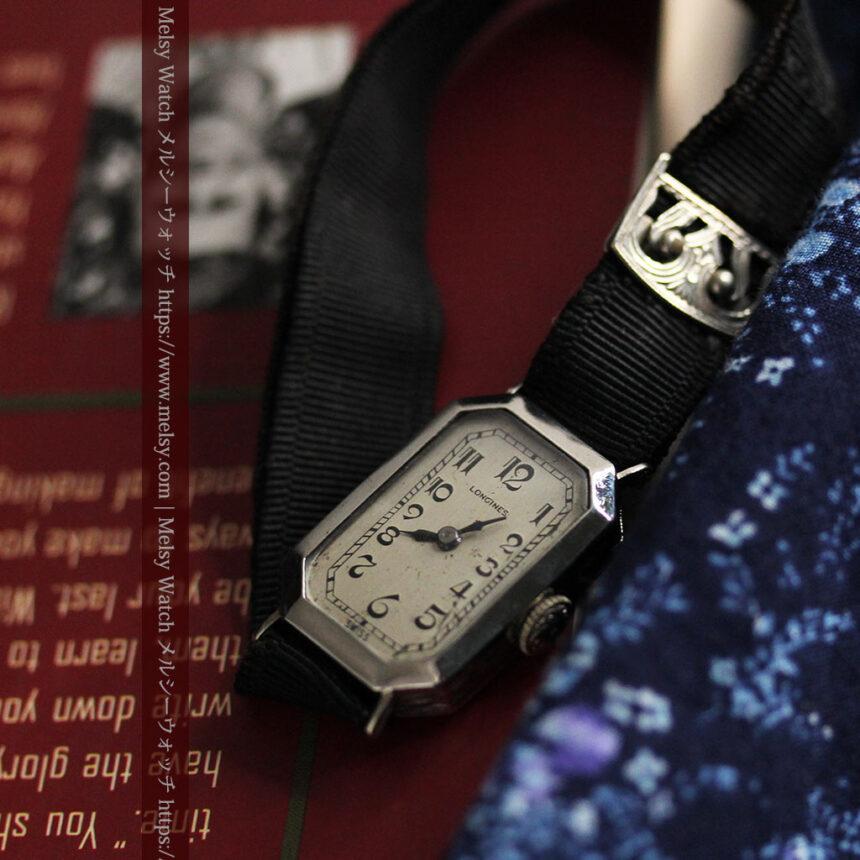 ロンジン 長八角形と布バンドの女性用アンティーク腕時計 【1926年製】-W1506-9