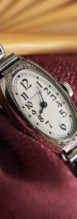 ウォルサムの上品な楕円形の女性用アンティーク腕時計 【1931年製】箱付き-W1507-1
