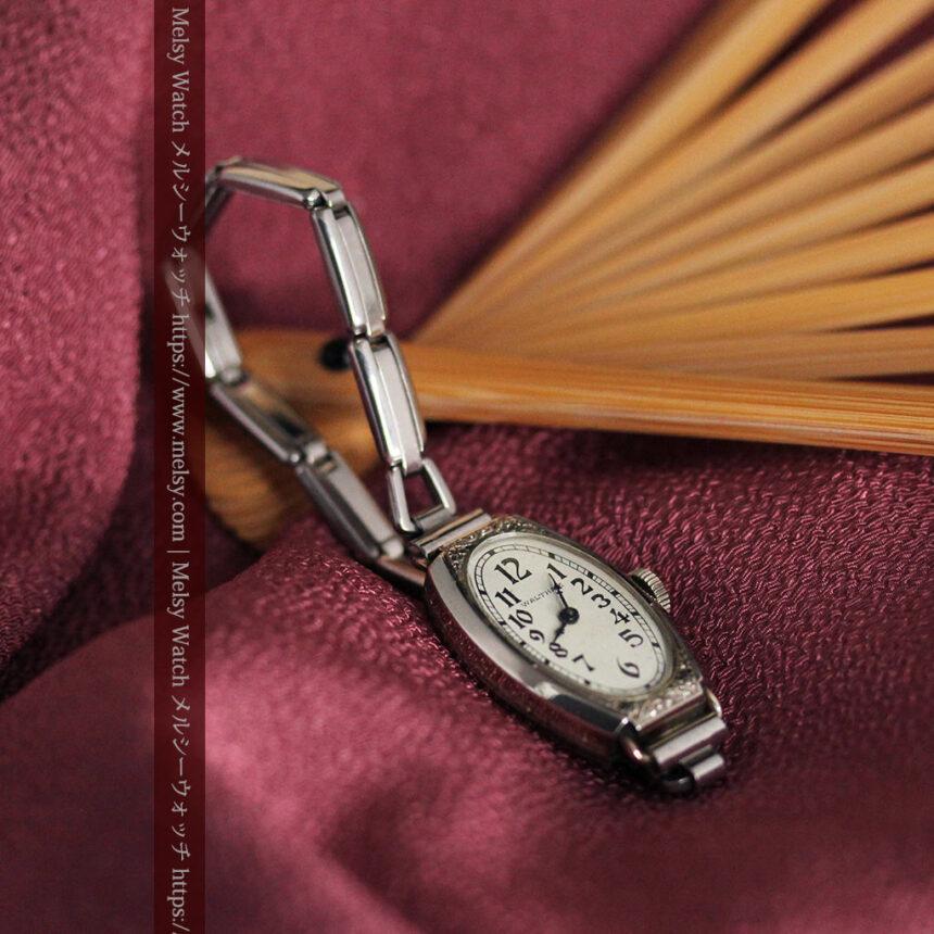 ウォルサムの上品な楕円形の女性用アンティーク腕時計 【1931年製】箱付き-W1507-6