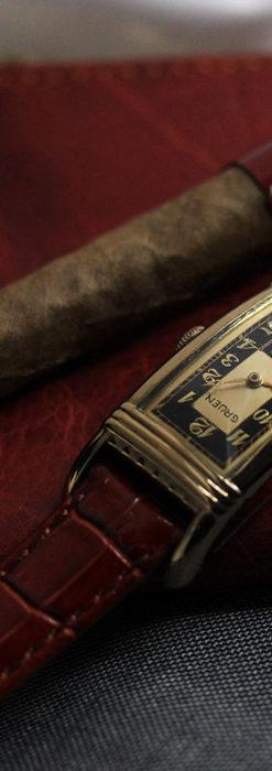 グリュエン アンティーク腕時計 カーブ&黒文字盤 【1937年頃】箱付き-W1508-1