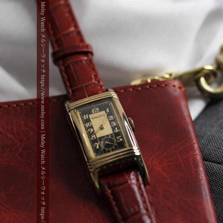 グリュエン アンティーク腕時計 カーブ&黒文字盤 【1937年頃】箱付き-W1508-10