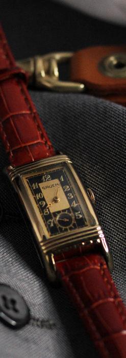 グリュエン アンティーク腕時計 カーブ&黒文字盤 【1937年頃】箱付き-W1508-11