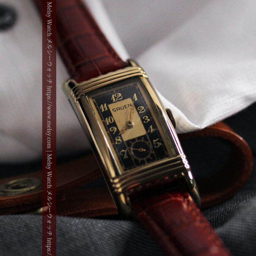 グリュエン アンティーク腕時計 カーブ&黒文字盤 【1937年頃】箱付き-W1508-12