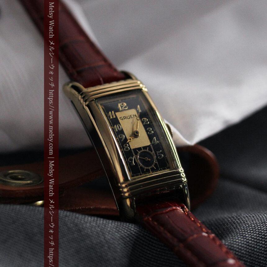 グリュエン アンティーク腕時計 カーブ&黒文字盤 【1937年頃】箱付き-W1508-13