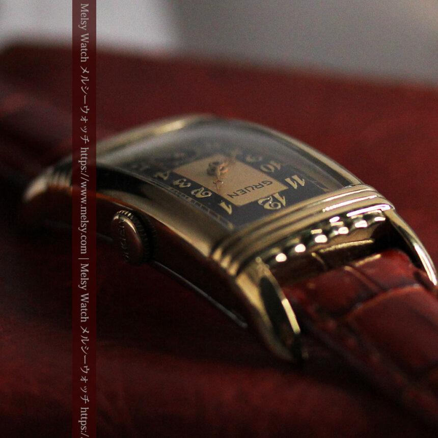 グリュエン アンティーク腕時計 カーブ&黒文字盤 【1937年頃】箱付き-W1508-14
