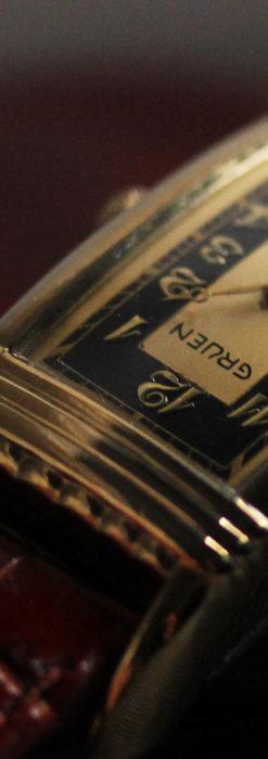 グリュエン アンティーク腕時計 カーブ&黒文字盤 【1937年頃】箱付き-W1508-15