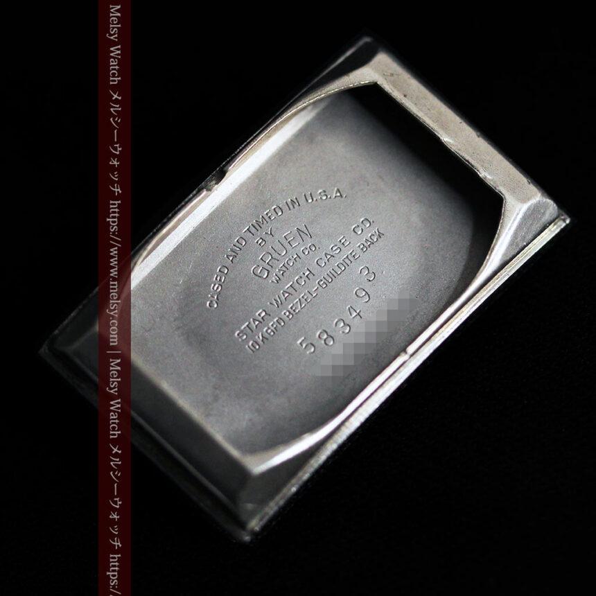 グリュエン アンティーク腕時計 カーブ&黒文字盤 【1937年頃】箱付き-W1508-17