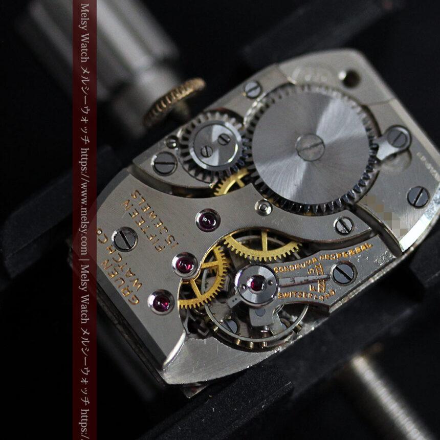 グリュエン アンティーク腕時計 カーブ&黒文字盤 【1937年頃】箱付き-W1508-18