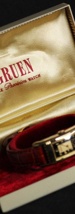 グリュエン アンティーク腕時計 カーブ&黒文字盤 【1937年頃】箱付き-W1508-19