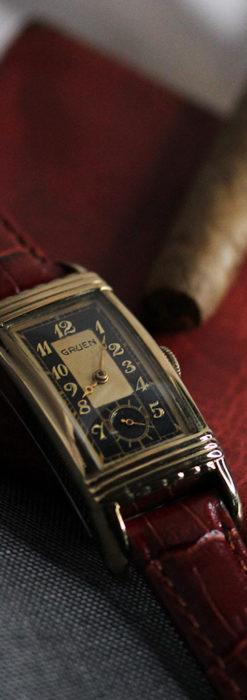 グリュエン アンティーク腕時計 カーブ&黒文字盤 【1937年頃】箱付き-W1508-2