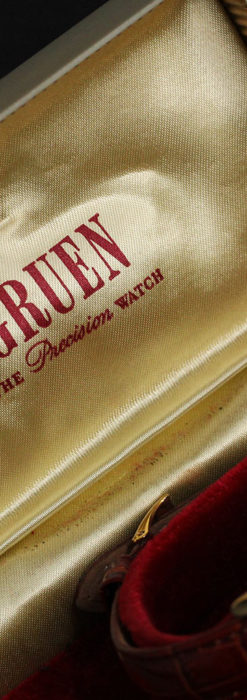 グリュエン アンティーク腕時計 カーブ&黒文字盤 【1937年頃】箱付き-W1508-20