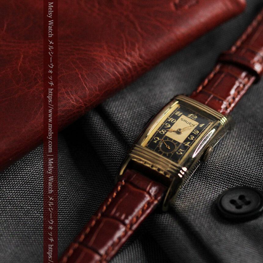 グリュエン アンティーク腕時計 カーブ&黒文字盤 【1937年頃】箱付き-W1508-3