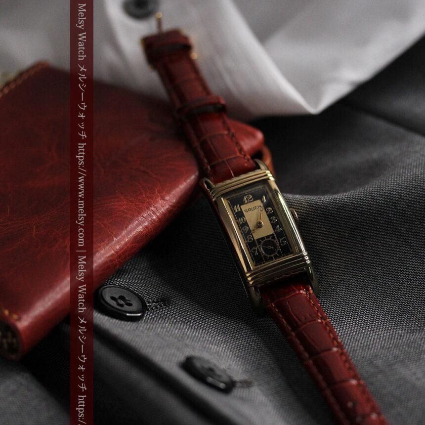 グリュエン アンティーク腕時計 カーブ&黒文字盤 【1937年頃】箱付き-W1508-4