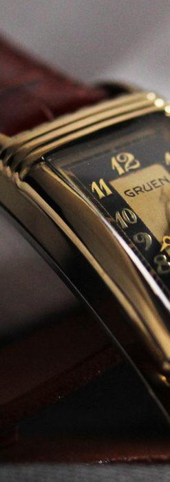 グリュエン アンティーク腕時計 カーブ&黒文字盤 【1937年頃】箱付き-W1508-5