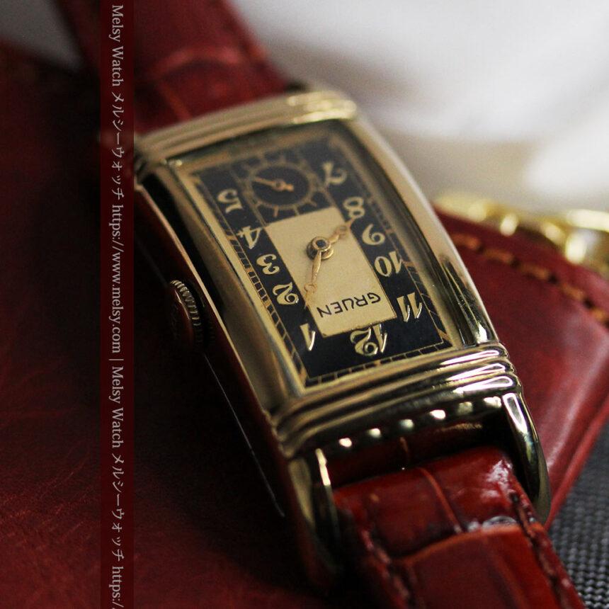 グリュエン アンティーク腕時計 カーブ&黒文字盤 【1937年頃】箱付き-W1508-6
