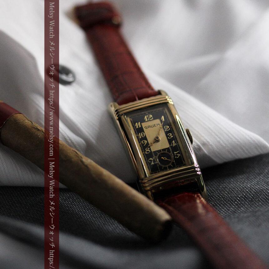 グリュエン アンティーク腕時計 カーブ&黒文字盤 【1937年頃】箱付き-W1508-7