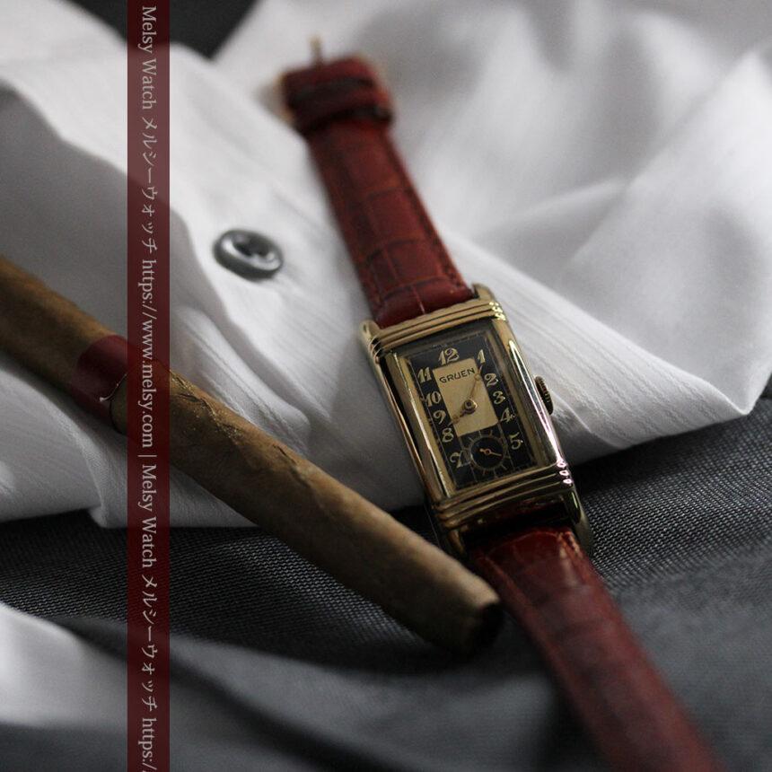 グリュエン アンティーク腕時計 カーブ&黒文字盤 【1937年頃】箱付き-W1508-8