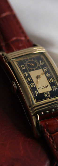 グリュエン アンティーク腕時計 カーブ&黒文字盤 【1937年頃】箱付き-W1508-9