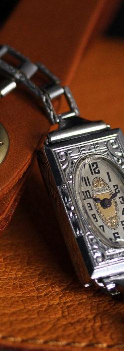 ブローバ 文字盤とケース装飾の綺麗な女性用アンティーク腕時計 【1927年製】ケース付き-W1509-1
