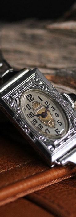 ブローバ 文字盤とケース装飾の綺麗な女性用アンティーク腕時計 【1927年製】ケース付き-W1509-2