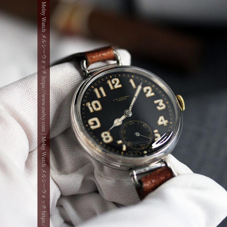 英国ベンソン 銀無垢&黒文字盤の風格あるアンティーク腕時計 【1918年製】-W1512-1