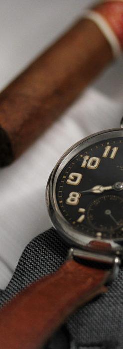 英国ベンソン 銀無垢&黒文字盤の風格あるアンティーク腕時計 【1918年製】-W1512-10