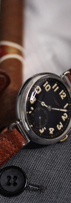 英国ベンソン 銀無垢&黒文字盤の風格あるアンティーク腕時計 【1918年製】-W1512-11