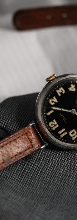 英国ベンソン 銀無垢&黒文字盤の風格あるアンティーク腕時計 【1918年製】-W1512-12