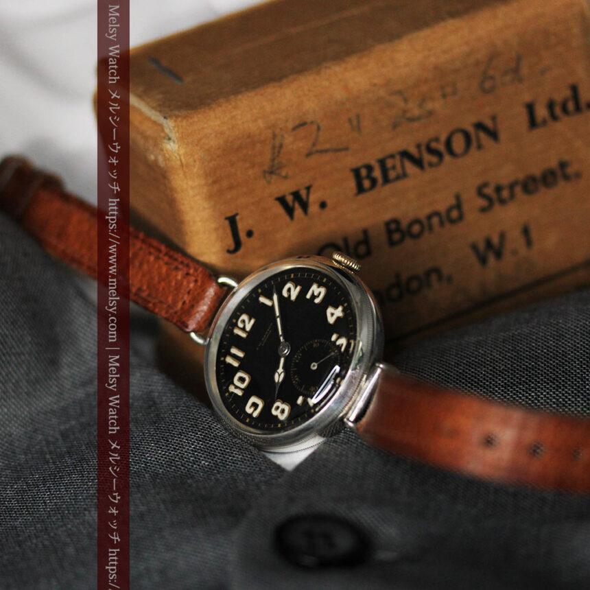 英国ベンソン 銀無垢&黒文字盤の風格あるアンティーク腕時計 【1918年製】-W1512-13