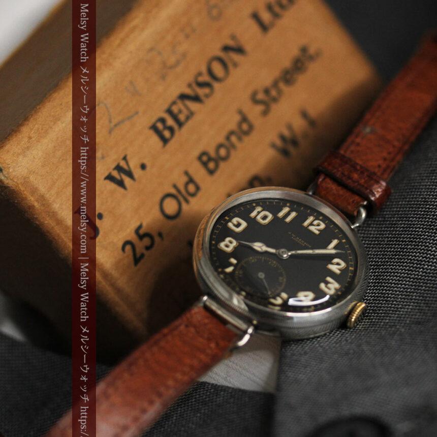 英国ベンソン 銀無垢&黒文字盤の風格あるアンティーク腕時計 【1918年製】-W1512-14