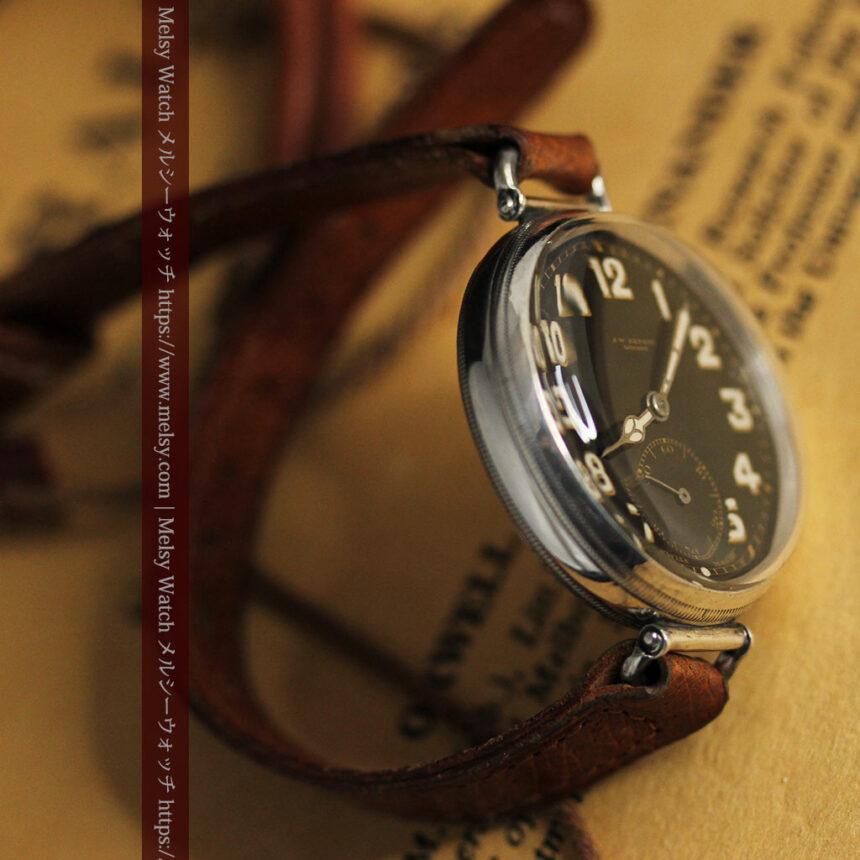 英国ベンソン 銀無垢&黒文字盤の風格あるアンティーク腕時計 【1918年製】-W1512-15