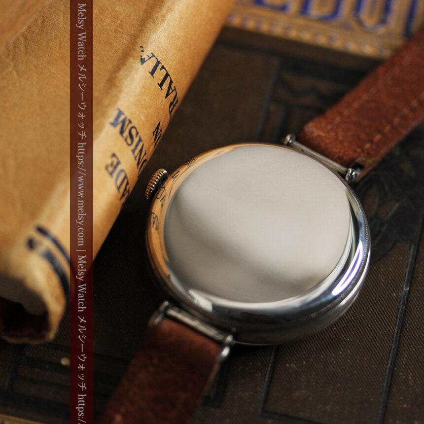 英国ベンソン 銀無垢&黒文字盤の風格あるアンティーク腕時計 【1918年製】-W1512-19