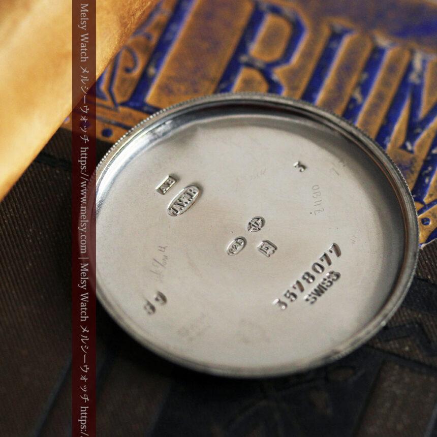 英国ベンソン 銀無垢&黒文字盤の風格あるアンティーク腕時計 【1918年製】-W1512-20