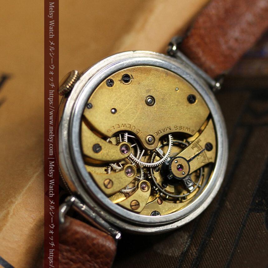 英国ベンソン 銀無垢&黒文字盤の風格あるアンティーク腕時計 【1918年製】-W1512-21