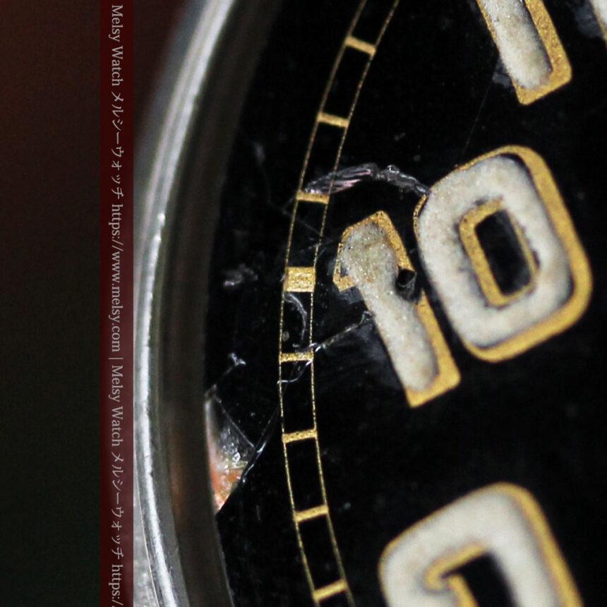 英国ベンソン 銀無垢&黒文字盤の風格あるアンティーク腕時計 【1918年製】-W1512-22