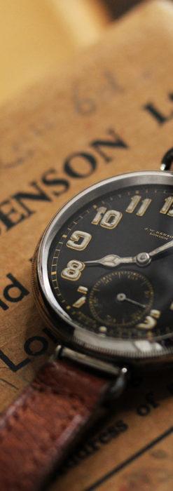 英国ベンソン 銀無垢&黒文字盤の風格あるアンティーク腕時計 【1918年製】-W1512-3