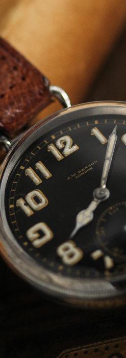英国ベンソン 銀無垢&黒文字盤の風格あるアンティーク腕時計 【1918年製】-W1512-4