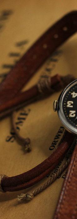 英国ベンソン 銀無垢&黒文字盤の風格あるアンティーク腕時計 【1918年製】-W1512-5