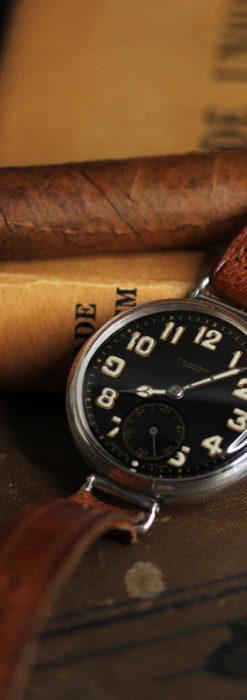 英国ベンソン 銀無垢&黒文字盤の風格あるアンティーク腕時計 【1918年製】-W1512-6